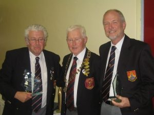 Michael Dunne & Declan O'Neill Bray BC accepting Awards from President Pat Kenny