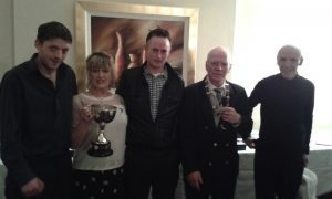 Winners, Rinks: Thomas Smyth, Vera McGurn & Nicky Smyth with Pres. Stephen Reed & Hon. Sec. Pat McDermot.