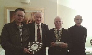 Winners, Pairs: Nicky & Arthur with EIBA Pres. Stephen Reed & Hon Sec. Pat McDermot.