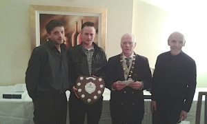 Winners, Triples: Thomas & Nicky Smyth (Paul Smyth absent) with Pres. Stephen Reed & Hon. Sec. Pat McDermot.