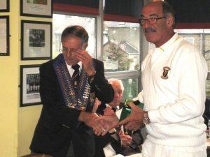Pres. Brian's gift to Vice Pres. David Bracken.