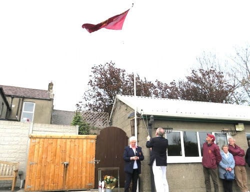 Unfurling the Flag at Leinster, 2019.